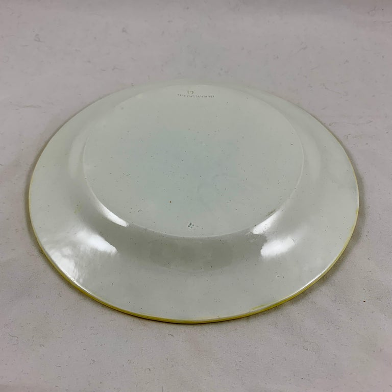 Josiah Wedgwood Pearlware Hand Enameled Cabbage Leaf Plates, Dated 1860, Set / 6 For Sale 6