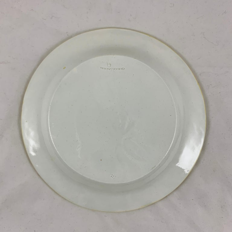 Josiah Wedgwood Pearlware Hand Enameled Cabbage Leaf Plates, Dated 1860, Set / 6 For Sale 7