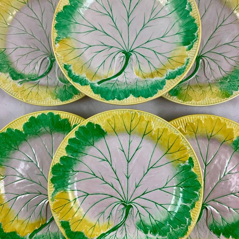 Regency Josiah Wedgwood Pearlware Hand Enameled Cabbage Leaf Plates, Dated 1860, Set / 6 For Sale