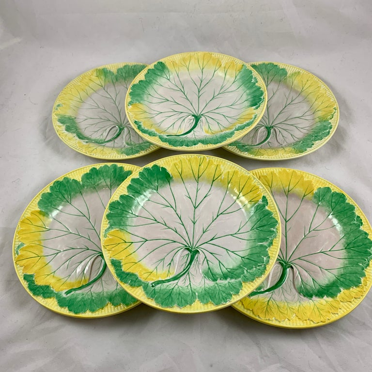 English Josiah Wedgwood Pearlware Hand Enameled Cabbage Leaf Plates, Dated 1860, Set / 6 For Sale