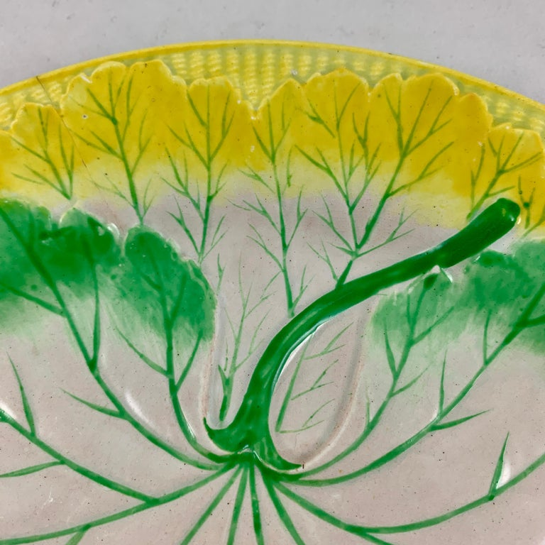 19th Century Josiah Wedgwood Pearlware Hand Enameled Cabbage Leaf Plates, Dated 1860, Set / 6 For Sale