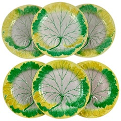 Josiah Wedgwood Pearlware Hand Enameled Cabbage Leaf Plates, Dated 1860, Set / 6