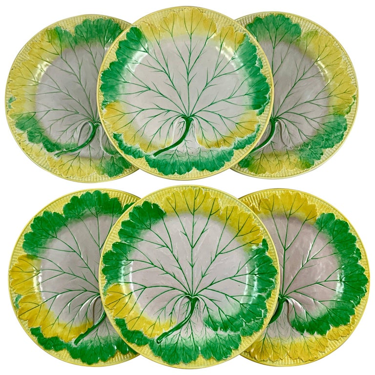 Josiah Wedgwood Pearlware Hand Enameled Cabbage Leaf Plates, Dated 1860, Set / 6 For Sale