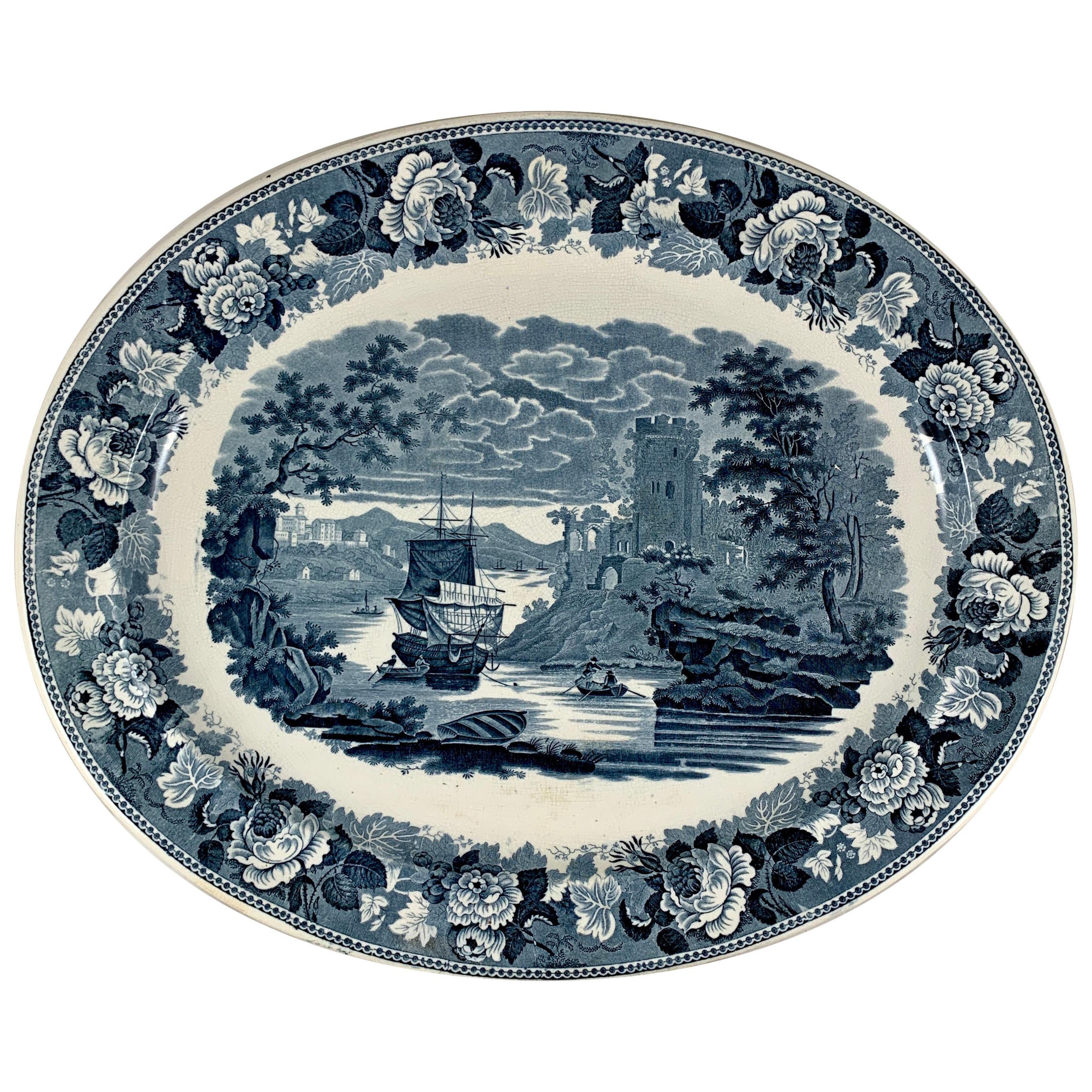 Josiah Wedgwood 'Pembroke Castle' Ships & Floral Steel Gray Transferware Platter