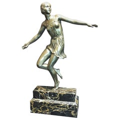Josselin, French Art Deco Semi-Nude Erotic Female Dancer Bronze Sculpture, 1920s