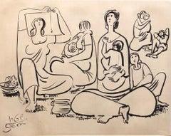 Mothers and Children Israeli Scene Brush Painting Judaica Bezalel Artist Kibbutz