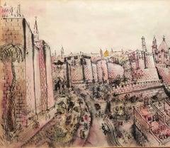 Old City Jerusalem City Walls landscape Scene Painting, Judaica