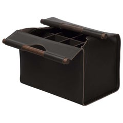 Jota Rectangular 8-Compartment Basket in Brown Leather