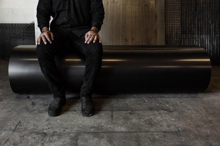 Minimalist Jouir Bench in Black Steel and Bronze Welding Contemporary Design by Mtharu For Sale