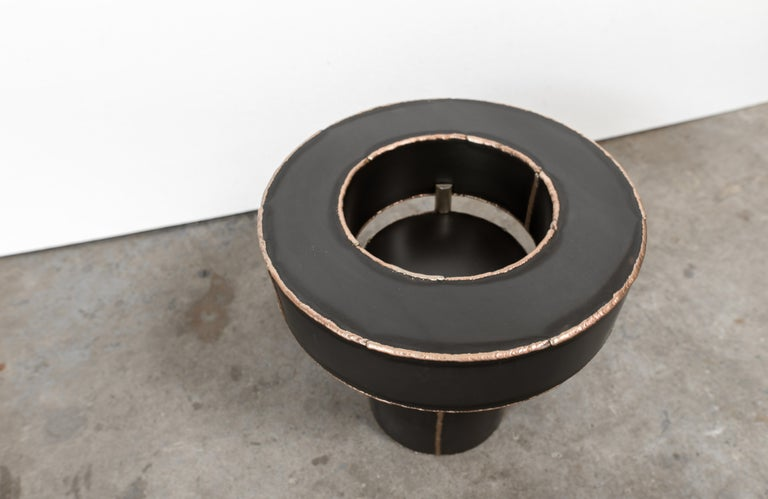 Post-Modern Sentric Side Table in Raw Black Steel and Bronze Seam, by Mtharu For Sale