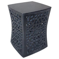 Jour Geometric Jali Side Table in Black Marble by Paul Mathieu