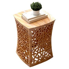 Jour Geometric Jali Side Table in Rainbow Stone by Paul Mathieu