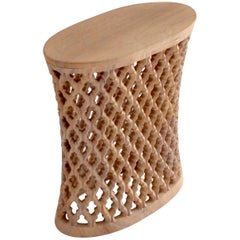 Jour Jali Oval Table in Rainbow Teak-wood Marble