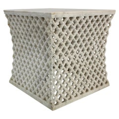 Jour Square Jali Side Table in White Marble by Paul Mathieu for Stephanie Odegar