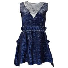 Jourden NWT Blue Metallic Ruffle Dress W/ Silver Lace sz FR42/ US10