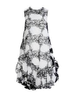 Jourden Sleeveless Mesh Dress w/ Swirl Pattern, Ruffle Bottom & White Slip sz 36