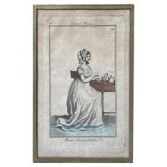 """""""Journal Des Dames Et Des Modes, Costume Parisien"""", 1799 French Fashion Drawing"""