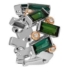 Zorab Creation, Journey Ring with Vivid Green Tourmaline and Diamond