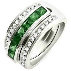 Journey Ring, The Three Graces, Platinum with Sapphire, Ruby & Tsavorite Inserts