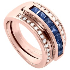Journey Ring, the Three Graces, Rose Gold with Sapphire Ruby & Tsavorite Inserts