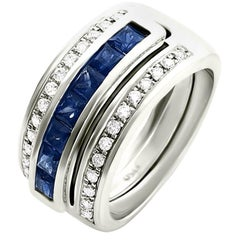 Journey Ring, the Three Graces, White Gold with Sapphire Ruby &Tsavorite Inserts