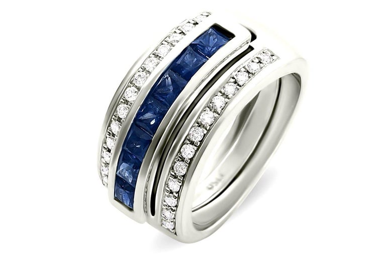 Brilliant Cut Journey Ring, Your Grace, 18 karat White Gold, Sapphire Insert For Sale