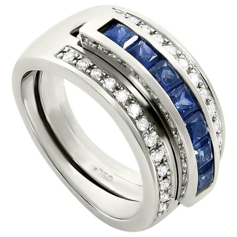 Journey Ring, Your Grace, 18 karat White Gold, Sapphire Insert For Sale