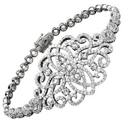 Jovane 18 Karat Gold, 3.91 Carat Rose and Brilliant Cut Diamond Lace Bracelet
