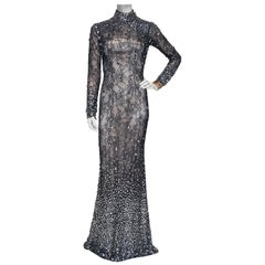 JOVANI Couture Black Sheer Lace Beaded Illusion Gown worn by Natalie Cole