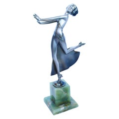 """Josef Lorenzl """"Joy"""" Silvered and Enamel Bronze Figure Onyx Base Signed Lorenzl"""