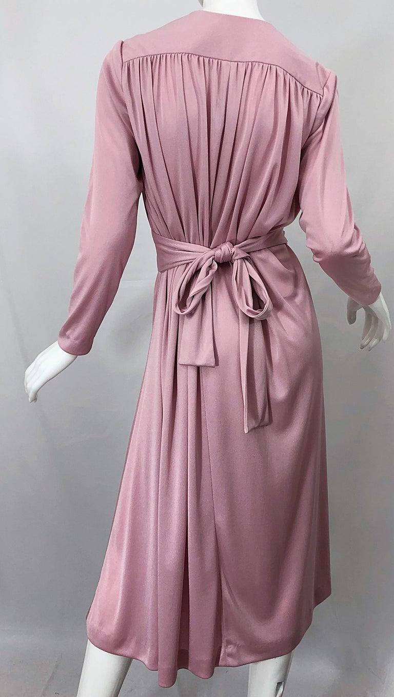 Joy Stevens 1970s Pink Mauve Dusty Rose Long Sleeve Disco Vintage 70s Dress For Sale 5