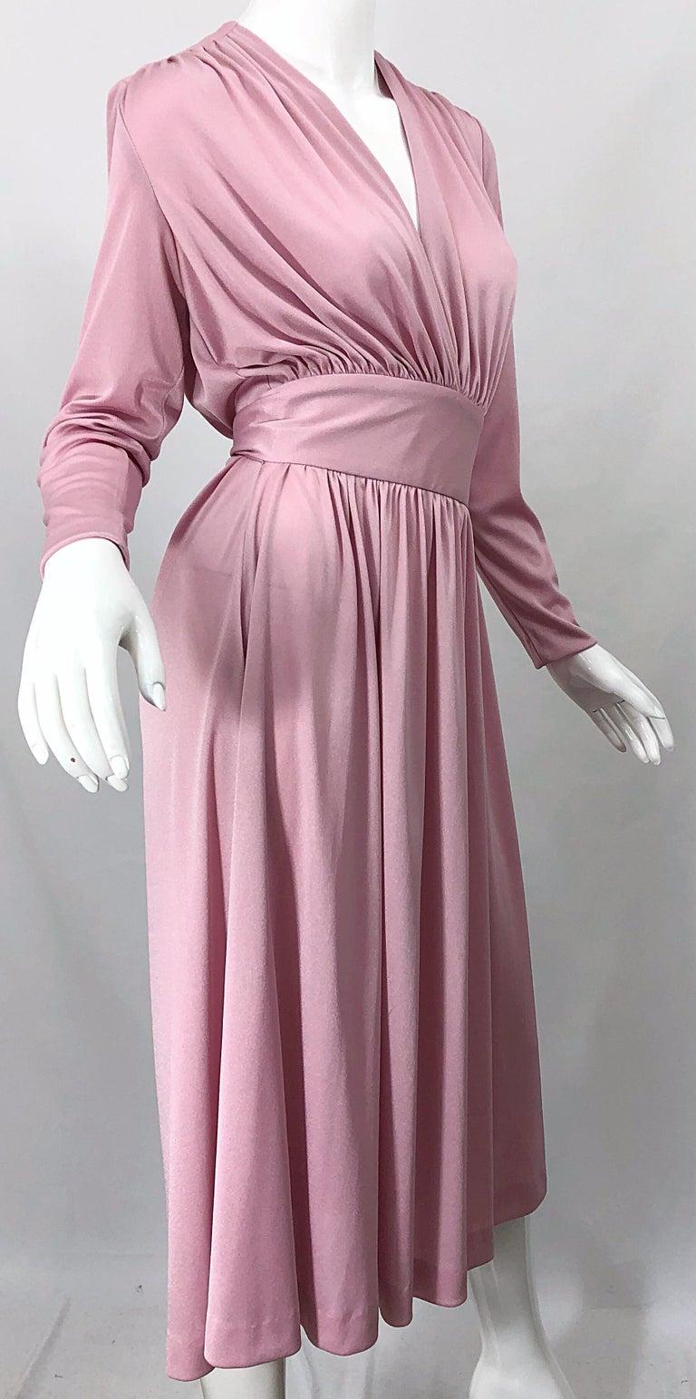 Joy Stevens 1970s Pink Mauve Dusty Rose Long Sleeve Disco Vintage 70s Dress For Sale 6