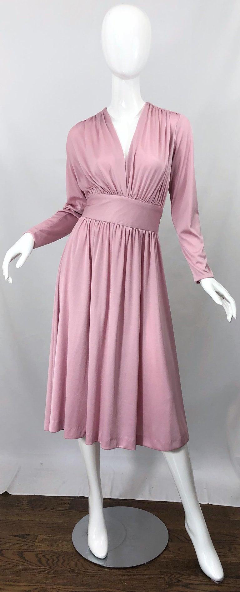 Joy Stevens 1970s Pink Mauve Dusty Rose Long Sleeve Disco Vintage 70s Dress For Sale 8