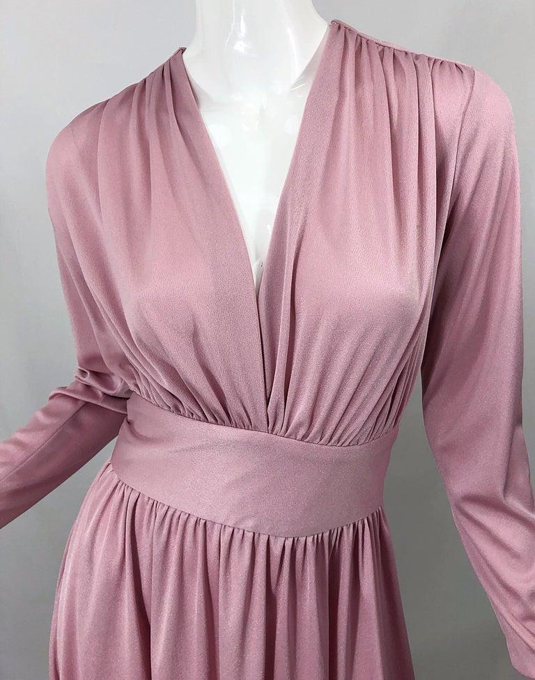 Purple Joy Stevens 1970s Pink Mauve Dusty Rose Long Sleeve Disco Vintage 70s Dress For Sale
