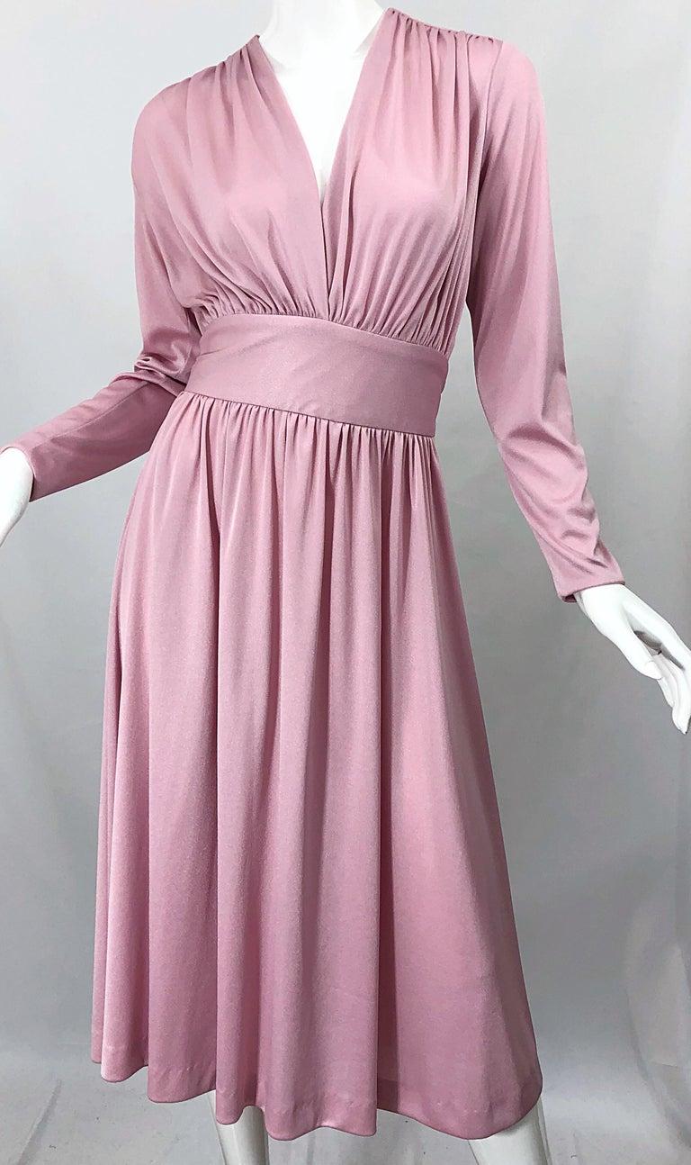 Joy Stevens 1970s Pink Mauve Dusty Rose Long Sleeve Disco Vintage 70s Dress For Sale 1