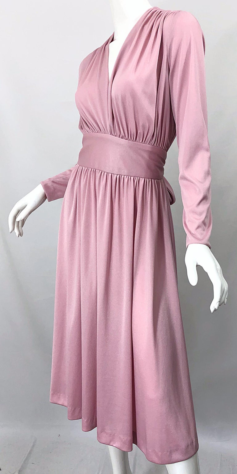 Joy Stevens 1970s Pink Mauve Dusty Rose Long Sleeve Disco Vintage 70s Dress For Sale 2