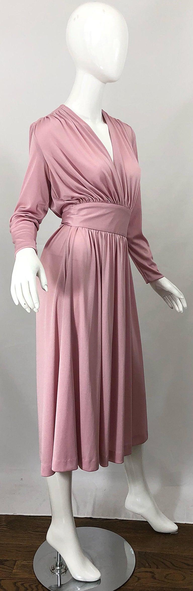 Joy Stevens 1970s Pink Mauve Dusty Rose Long Sleeve Disco Vintage 70s Dress For Sale 4