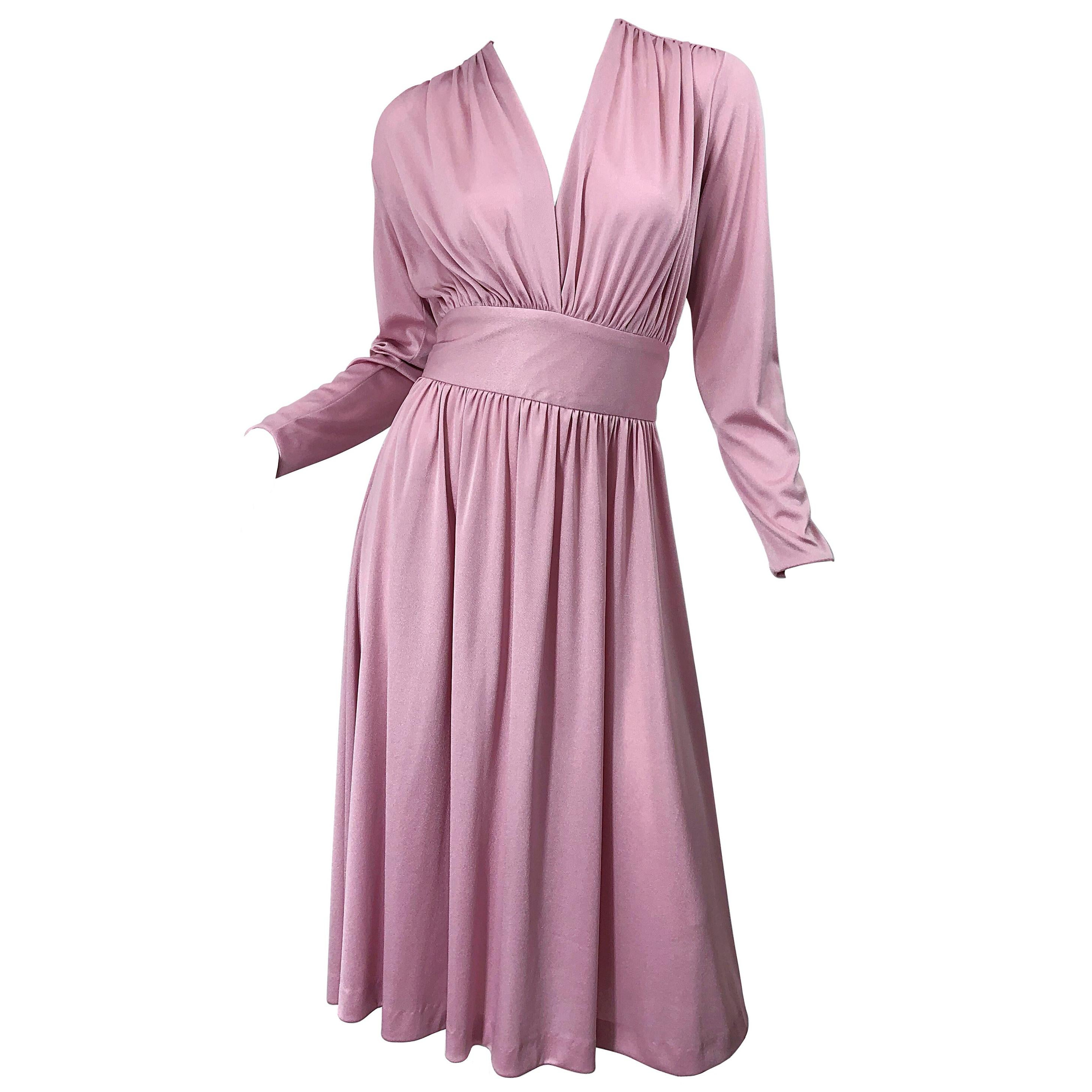 Joy Stevens 1970s Pink Mauve Dusty Rose Long Sleeve Disco Vintage 70s Dress