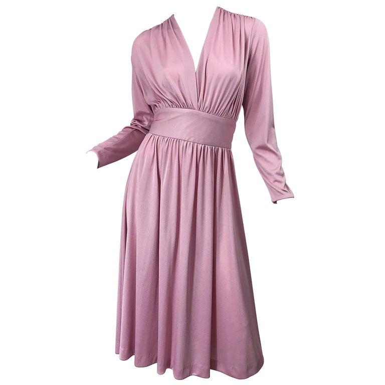 Joy Stevens 1970s Pink Mauve Dusty Rose Long Sleeve Disco Vintage 70s Dress For Sale