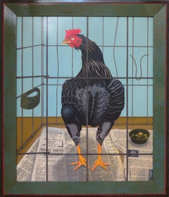 Best Pullet (Abstracted Animal Painting of Black Farm Chicken Against Blue)