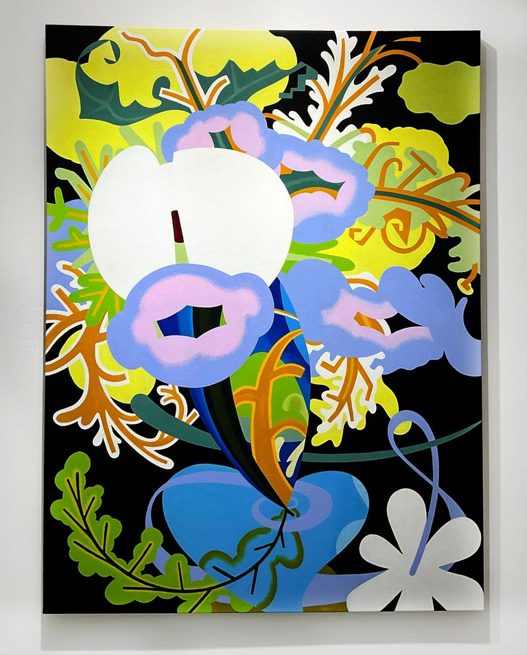 Inside Flowers (Abstract Still Life Painting of Purple, Green & Blue Flowers)  - Beige Abstract Painting by Joy Taylor