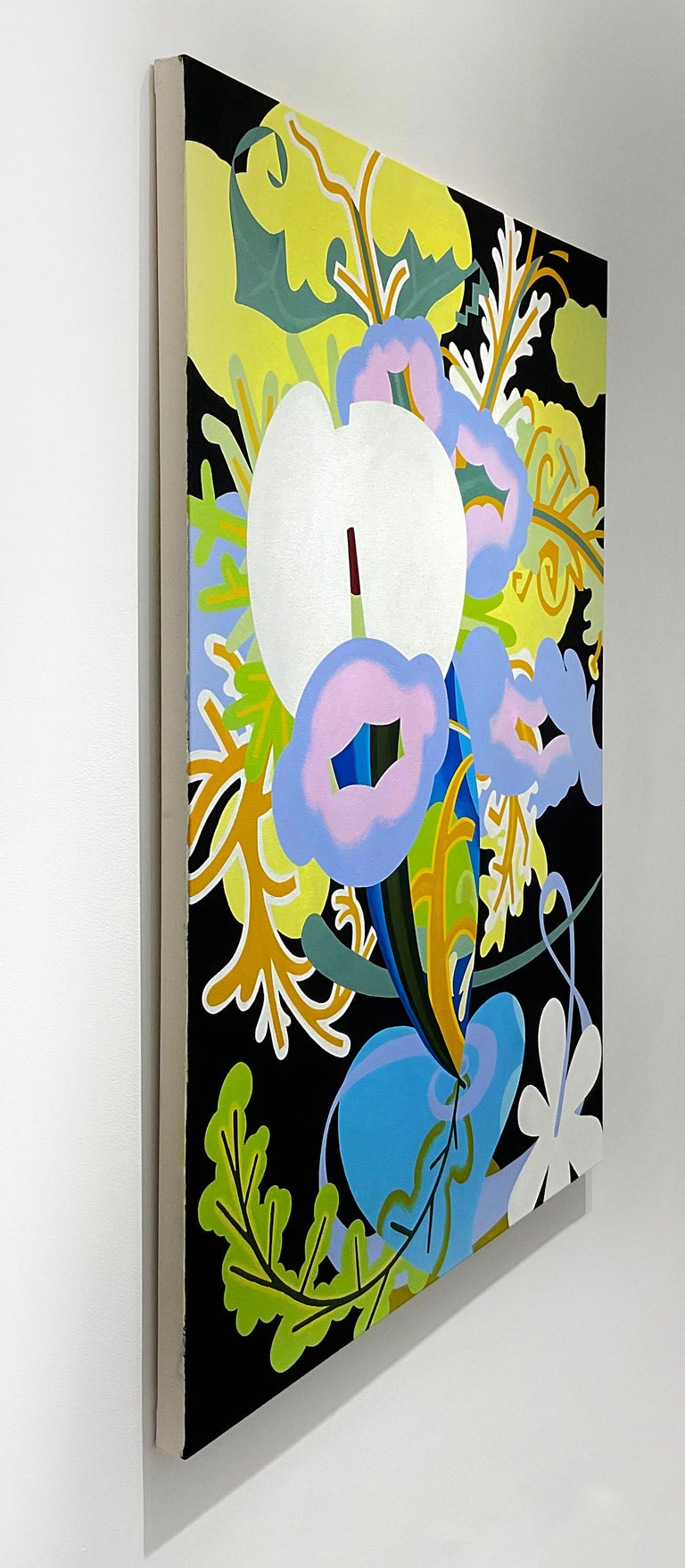 Pop art inspired abstract still life painting of periwinkle blue and pastel pink flowers against lime green and white leaf details, contrasted against a bold black background