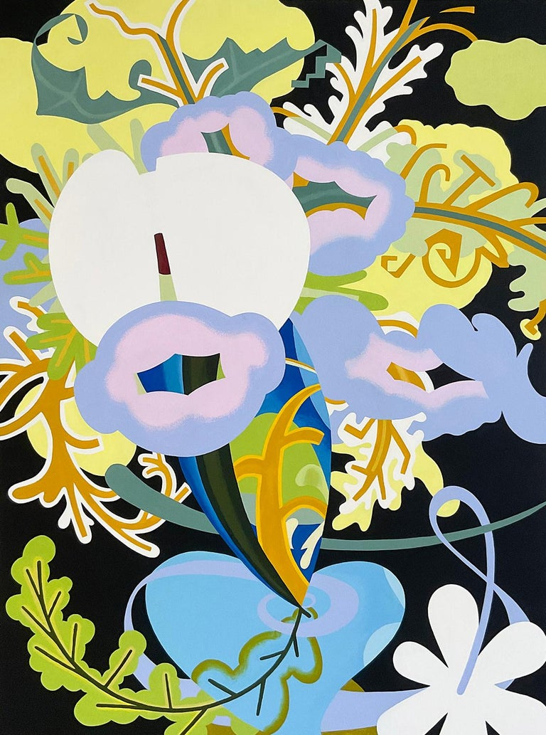 Joy Taylor Abstract Painting - Inside Flowers (Abstract Still Life Painting of Purple, Green & Blue Flowers)