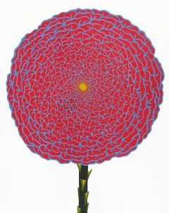 Red & Cerulean Rose (Abstracted Still Life Painting on Paper of a Red Flower)