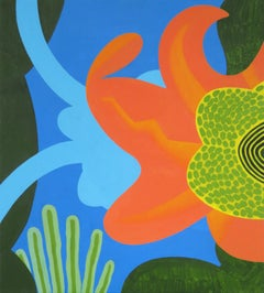Under Water (Abstract Floral Acrylic Painting W/ Color Blocking & Clean Lines)