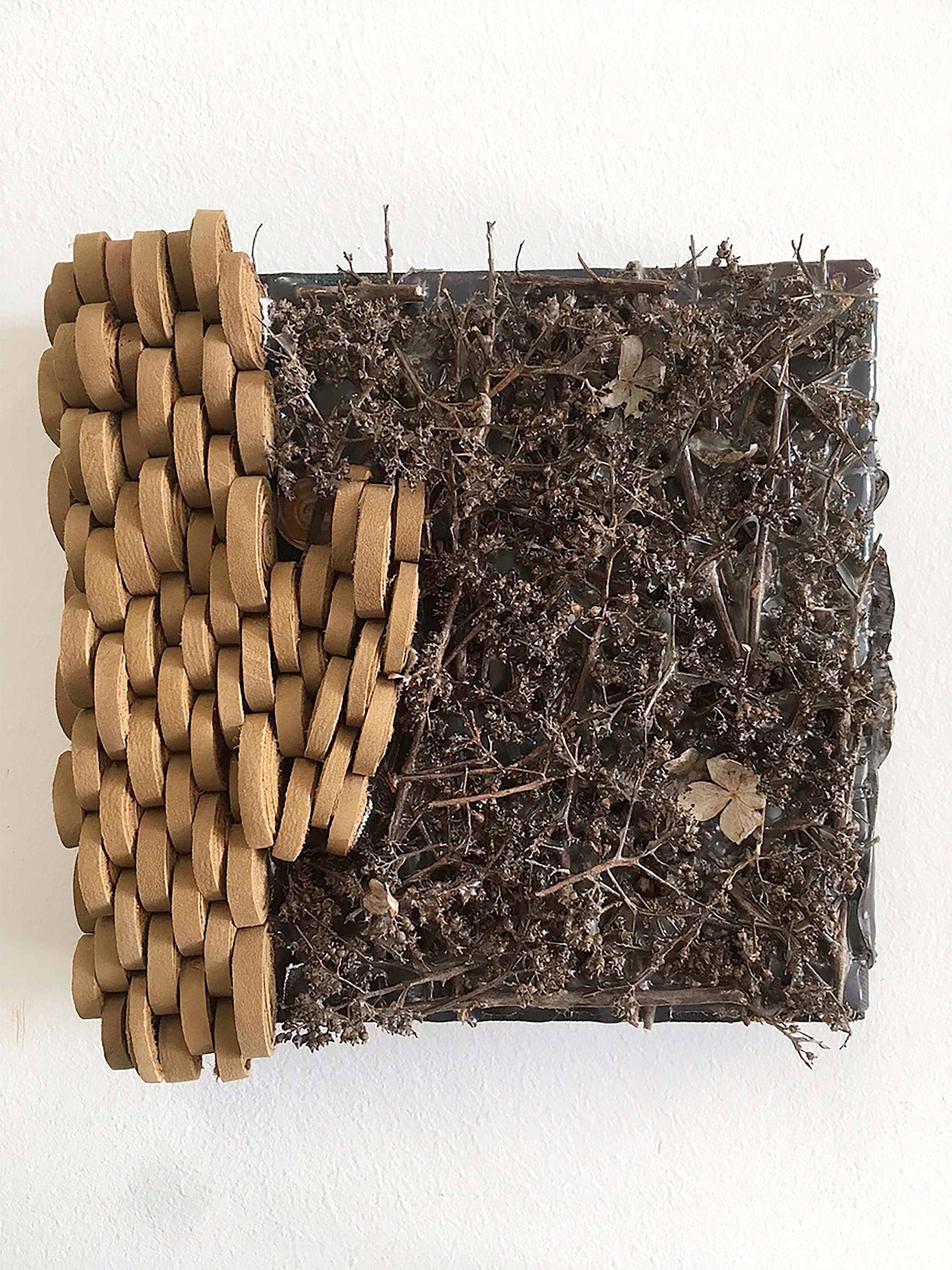 Wall sculpture made of suede & natural organic material: 'Flora/Fauna'