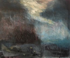 Acrylic paint, canvas and applied hand-painted papers: 'Sea Storm'