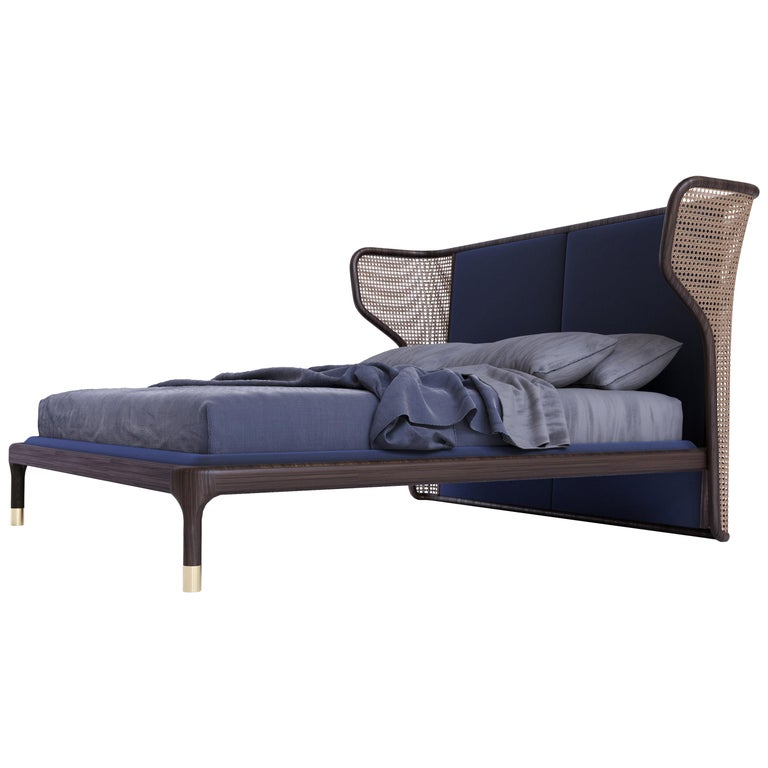 Joyce Bed Made of Ashwood and Vienna Straw, with Upholstered Headboard For Sale