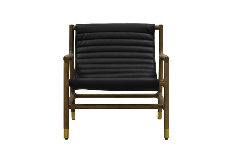 Joyce Contemporary Armchair Made of Ashwood with Tufted Leather Seat For Sale 2