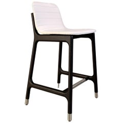 Joyce Contemporary Bar Stool in Ashwood and Leather with Steel Cups and Footrest